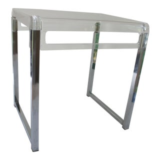 1970s Mid-Century Modern Chrome and Lucite Side Table For Sale