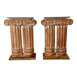 Vintage Carved Wood Neoclassical Ionic Column Table Bases- a Pair For Sale