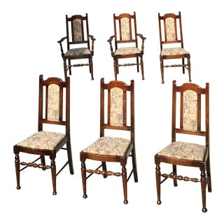 Vintage English Oak Dining Chairs - Set of 6 For Sale