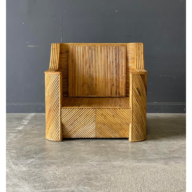 Mid-Century Modern Outrageous Vintage Bamboo Club Chair and Ottoman For Sale - Image 3 of 12