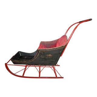 Antique Victorian With Original Hand Painted Design Child's Push Sleigh For Sale