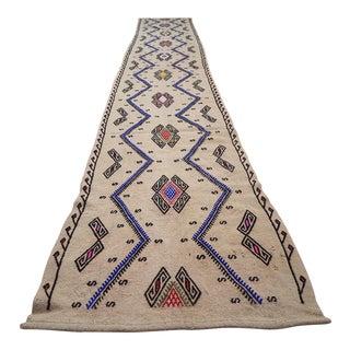 Vintage Handwoven Wool Natural Color Long Kilim Rug Runner Area Rug Stair Kelim Runner, Boho Decor Floor Hall Rug 1'9''x11'11'' /53x362cm For Sale