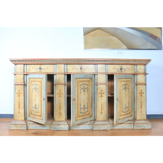 Paint 1970s Hand Painted Italian Cabinet For Sale - Image 7 of 13