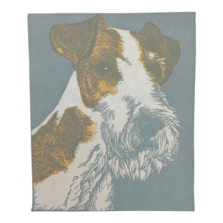 Dog Block Print by George Adomeit 1940s For Sale