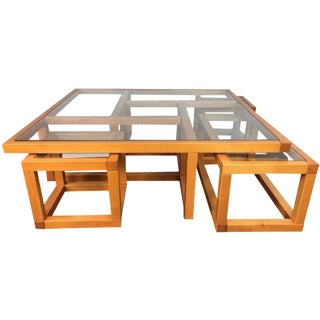 1970s Mid-Century Modern Maple Puzzle Coffee Table