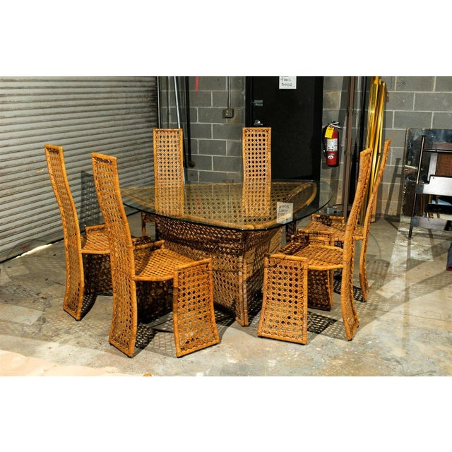 Brown Fantastic Vintage Rattan Triangle Base Dining or Game Table by Danny Ho Fong For Sale - Image 8 of 9