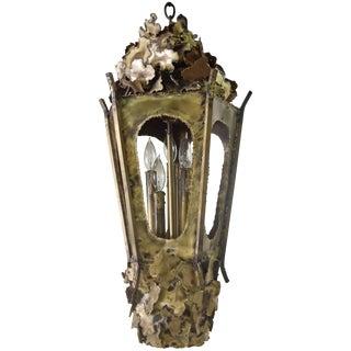 Vintage 60s Tom Greene Brutalist Brass Chandelier For Sale