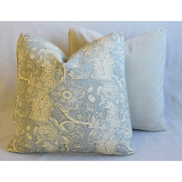 "Designer Hodsoll Camellia/Acorn Linen Feather/Down Pillows 21"" Square - Pair For Sale - Image 10 of 13"