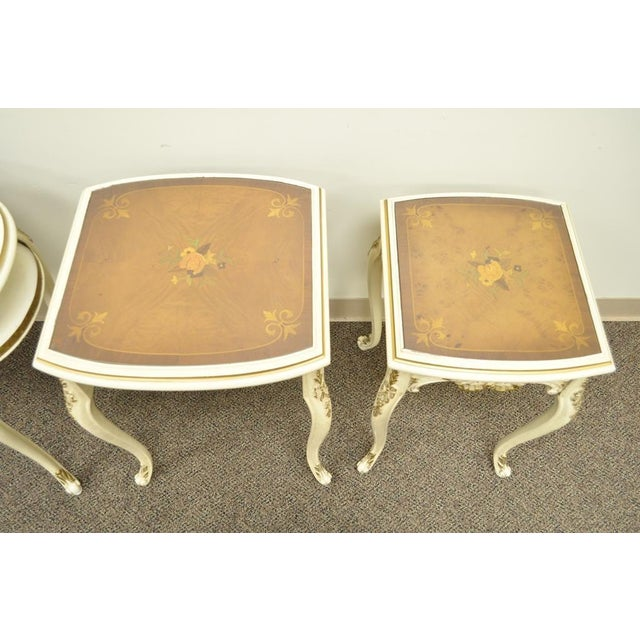 3 Vintage French Louis XV Carved Satinwood Inlaid Nest of Nesting Side Tables For Sale In Philadelphia - Image 6 of 11