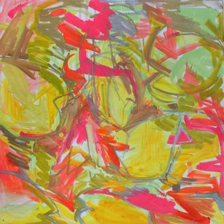 """Large Abstract Painting by Trixie Pitts """"Water Lilies in Red and Yellow"""""""