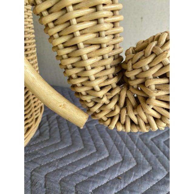 Vintage Coastal Wicker Elephant Basket For Sale - Image 4 of 13