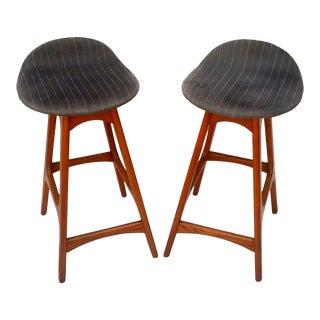 1960s Vintage Erik Buch Bar Stool for o.d. Mobler - a Pair For Sale