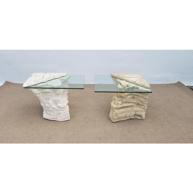 Brutalist Sirmos Faux Rock Plaster Side Tables - a Pair For Sale - Image 3 of 13