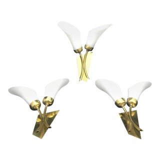 1950s Mid-Century Modern Brass and White Glass Wall Sconces, Italy - Set of 3 For Sale