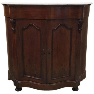 19th Century Walnut and White Marble Linen Press With One Door