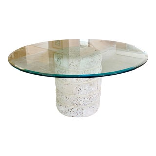1980s Glass Top Table With Coral Stone Base For Sale