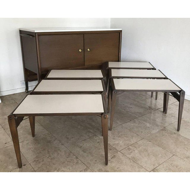 1950s Unique John Keal Server with Six Folding Tables - Set of 7 For Sale - Image 9 of 11