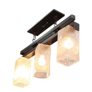 Hand Blown Glass Triple Light Fixture For Sale