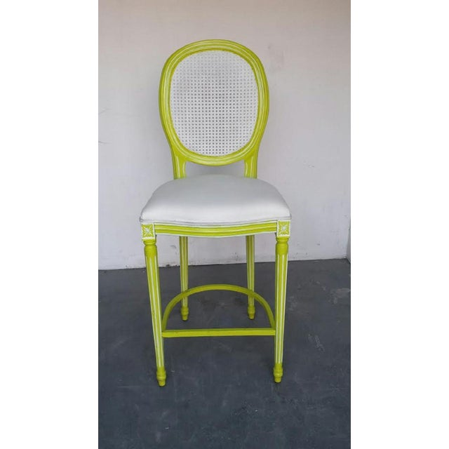 French Louis XV Lime & White Bar Stools - A Pair - Image 2 of 4