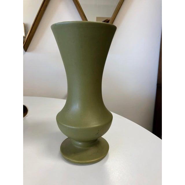 Vintage McCoy Floraline Olive Green Vase For Sale - Image 4 of 4