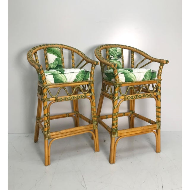 1970s 1970s Vintage Tropical Rattan Bar Stools - a Pair For Sale - Image 5 of 7