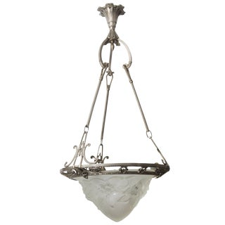 French Art Deco Chandelier With Pewter Finish Satin Glass Flower Motif For Sale
