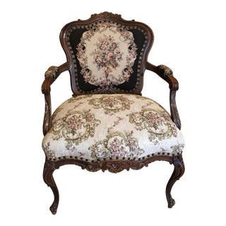 French 1890's Antique Bergere Carved Wood Arm Chair