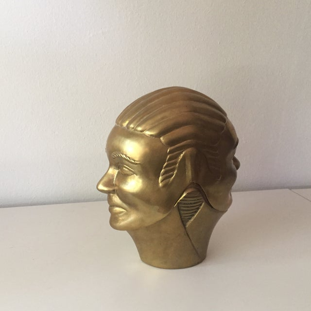 2 Faced Lidded Brass Figure - Image 8 of 11