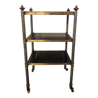 Onyx & Antique Brushed Brass Accent Table For Sale
