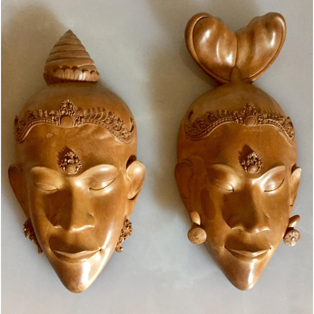 Pair of Vietnamese Carved Wood Masks For Sale - Image 9 of 9