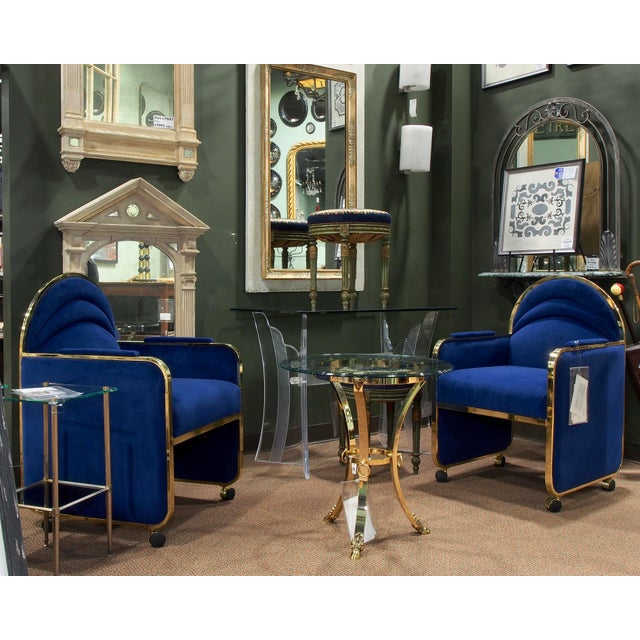 Mid-Century Modern Pair Design Institute America Baughman Style Brass & Blue Velvet Club Chairs For Sale - Image 3 of 9