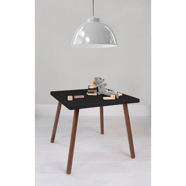 "Contemporary Tippy Toe Large Square 30"" Kids Table in Walnut With Black Finish Accent For Sale - Image 3 of 4"