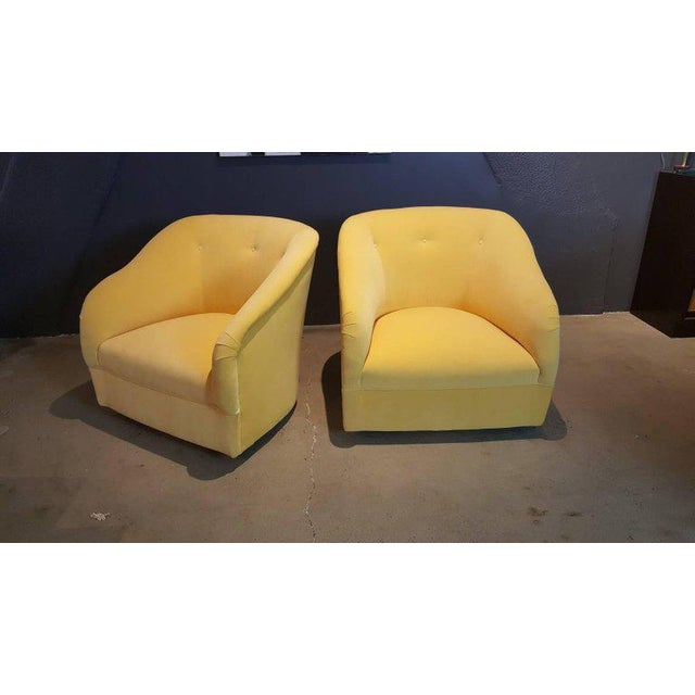 Fully Restored 1960s Vintage Ward Bennett Canary Yellow Velvet Swivel Chairs - a Pair - Image 9 of 11
