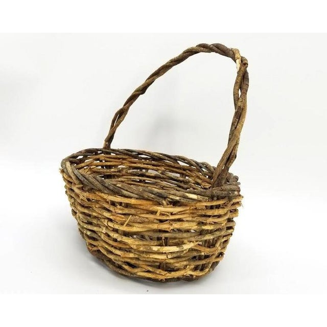 Late 20th Century Vintage Rustic Willow Woven Branch Twig Basket For Sale - Image 5 of 9
