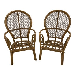 Rattan High Back Arm Chairs - a Pair For Sale