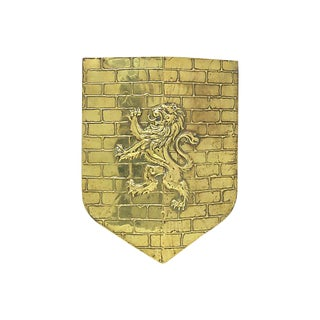 English Brass Lion Wall Shield
