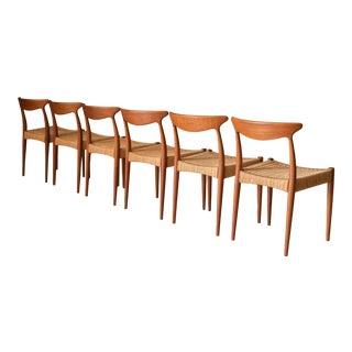 Danish Modern Teak Set of Six Arne Hovmand-Olsen Dining Chairs for Mogens Kold For Sale