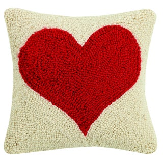 Red Heart Hooked Wool Pillow For Sale