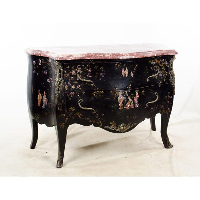 20th C. French Louis XV Style Chinoiserie Marble Top Bombe Commode For Sale - Image 13 of 13