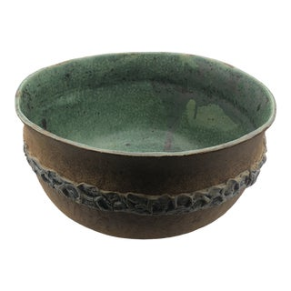 Banded Pottery Bowl With Green Interior For Sale