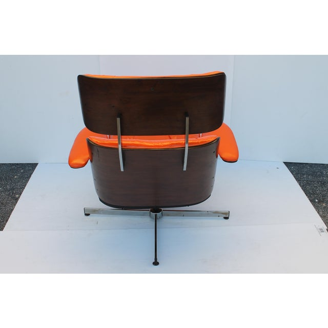 Mid-Century Modern Orange Leather Recliner - Image 11 of 11