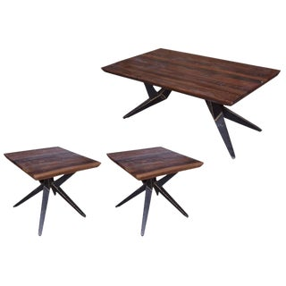 Faunia End Table & Coffee Table Combo Set With Iron Legs, Living Room, Wooden Top, Rustic Natural Finish, Wood and Metal, Home Furniture- Natural For Sale