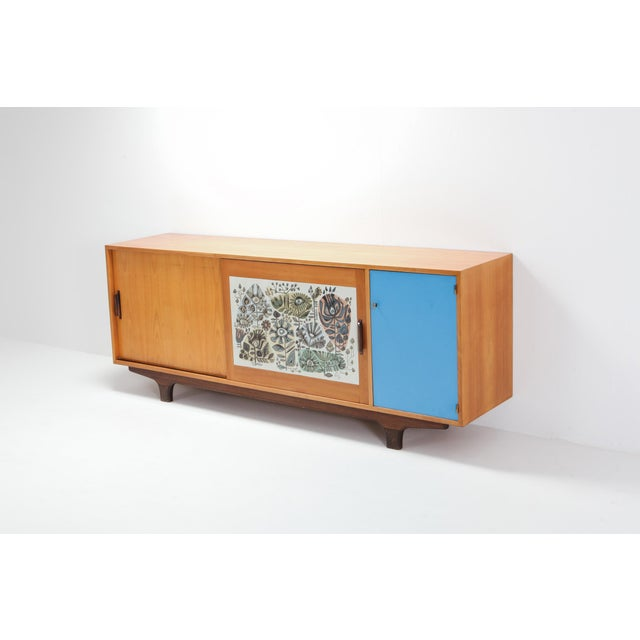 Mid-Century Modern Modernist Sideboard With Perignem Ceramic and Macassar Details For Sale - Image 3 of 12