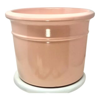 Vintage Large Pink Pottery Planter Flower Pot Garden Patio Table For Sale