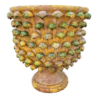French Acathus Leaves Glazed Tera Cotta Garden Urn