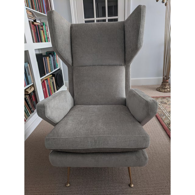 Stunning and comfy wing chair in the style of Italian mid-century modern! Looks very much like Gio Ponti chairs which sell...
