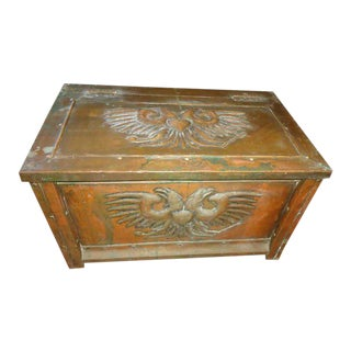 Antique Brass Firewood Box For Sale