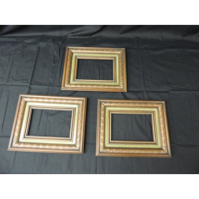 Set of (3) Vintage Green Painted Wood Art Frames For Sale In Miami - Image 6 of 6
