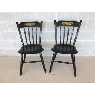 Ethan Allen Hitchcock Style Ebonized Arrow Back Side Chairs- a Pair Preview