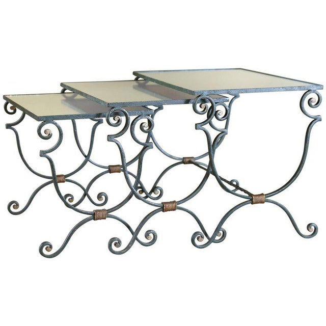 Set Three French Mirrored-Top Iron Nesting Tables For Sale - Image 9 of 9
